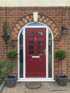 Arched composite front door in Churchdown (Jan 2016)