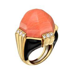Coral, diamond & black enamel dress ring - David Webb