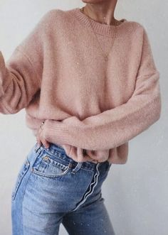 #fall #outfits women's pink crew-neck sweater and blue denim jeans