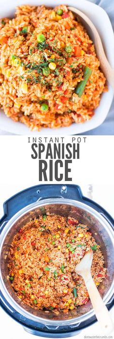 Looking for an authentic easy homemade Spanish rice recipe that's not too spicy AND that can be made in your Instant Pot? Then look no further! You'll never make rice in your crockpot or slow cooker again! This recipe is restaurant quality, comes together quickly and is the perfect pairing with ground beef or with beans tossed in a burrito. #spanishrice #instantpot Mexican Rice Recipes, Rice Recipes For Dinner, Spanish Recipes, Spanish Dishes, Spanish Tapas, Instant Pot, Spanish Rice And Beans, Crockpot Spanish Rice, Spanish Rice Recipe With Ground Beef