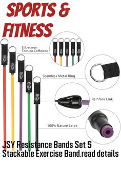 SY Resistance Bands Set 5 Stackable Exercise Bands with Handles Carry Bag Door Anchor Ankle Straps Guide Book for Men Women Resistance Training Physical Therapy Home Workouts 100 LBS ... (This is an affiliate link) #exercisebands J