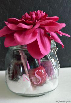 Manicure supplies in a monogram jar - what a fun gift idea!
