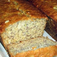Banana bread made healthier with oatmeal.  This is perfect for a light breakfast or snack.