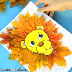 This fall craft idea for kids is the cutest. Leaves are great for crafting with kids, pick them up in on your next walk and use them to make this lion leaf craft. This one is great fun for preschool and kids in kindergarten and as you can print our lion head template it's a low prep one.