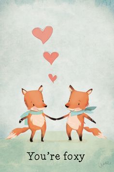 You're foxy cute foxes! My Funny Valentine, Valentine Day Crafts, Happy Valentines Day, Tier Wolf, Shower Bebe, Love Days, Cute Wallpapers, Cards, Beautiful