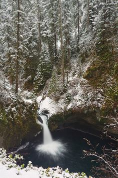 winter, Punchbowl Falls - Columbia River Gorge National Scenic Area, Oregon. Photo: Jesse Estes