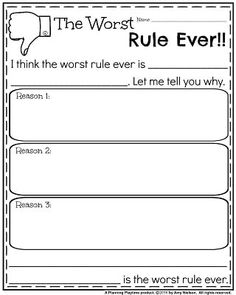 Opinion Writing Prompts for January - The Worst Rule Ever!