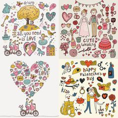 Valentine's day cards vector, Digital Frame Clipart, Flourish Clip Art, Digital Wedding Clipart, Clip Art Frame - INSTANT DOWNLOAD