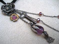 Charm Necklace - Purple - Antique Assemblage Necklace - Flower - Key - key necklaceTassel - Silver - Marcasite - Piece Lust