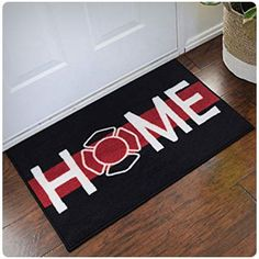 Firefighter Support welcome home door mat is approximately 2 ft. x 3 ft. Support firefighters personal indoor doormat represents all workers in the fire deparment. This firefighter welcome home mat is a perfect retirement gift for firefighters. Firefighter Home Decor, Firefighter Family, Firefighter Wedding, Firefighters Wife, Firemen, Firefighter Shirts, Firefighter Paramedic, Firefighter Quotes, Volunteer Firefighter