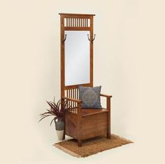 The ultimate in convenience and craftsmanship, our Arts & Crafts Mission Hall Tree combines a regal hall seat with functional everyday storage. A high-quality hall mirror is equipped with two sturdy coat rack hooks for hats, purses, and jackets. Hall Tree With Mirror, Entryway Hall Tree, Hall Tree Bench, Entryway Ideas, Hall Trees, Tree Furniture, Hallway Furniture, Amish Furniture, Cool Furniture