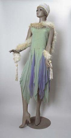 Green and mauve handkerchief dress, 1920s