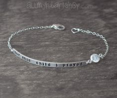 Sterling Silver Quote Jewelry - Name Plate Bracelet - Adoption Jewelry on Etsy, $42.00