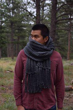 Mens Knit Gray Scarf Tassels Chunky Charcoal Gray Knit Scarf Chunky Crochet  Scarf, Crochet Yarn 933ee14f5f7