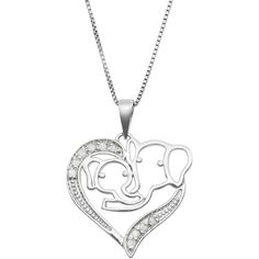 Jewel Exclusive Sterling Silver  Diamond Double Elephant Heart Pendant ($30) ❤ liked on Polyvore featuring jewelry, pendants, multi, sterling silver heart jewelry, elephant pendant, charm pendant, heart shaped pendant and diamond elephant pendant