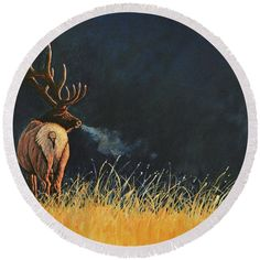 """October Morning. Original Elk painting by Lee R Gardner printed onto your very own 60"""" beach towel. Great gift for yourself or another wildlife enthusiast. Many other images available."""