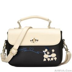 Wow~ Awesome Cute Puppy Girls Cartoon Little Dog Contrast Color PU Shoulder Bag! It only $29.99 at www.AtWish.com! I like it so much<3<3!