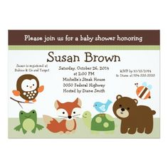 Forest Animal Friends Baby Shower Invitation