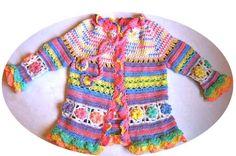 Croche pro Bebe: Casaquinho colorido em croche