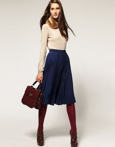 For fall: sweater, warm scarf (ahem, fur), long sleeve sweater, contrast opaque tights, mahogany leather accessories