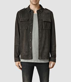 Christian: $378 Mens Dover Leather Shirt (Anthracite) - thin goat suede with embossed rib texture