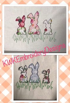 This is a raw edge applique bunnies in grass design  *Please note this is not a satin stitch finished design, it is raw edge *  This design would be perfect to use up all those scraps of fabrics, each bunny can look different depending on the fabrics you use.   These bunnies come with a step by ste
