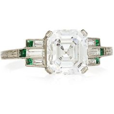 See this and similar rings - NM Estate Jewelry Collection. Estate Art Deco Asscher-Cut Diamond & Emerald Engagement Ring, Size 6.25. Engagement ring from the Ar...