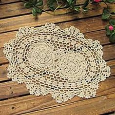 """Crochet Retro Country Style Oval Decorative Biege Placemat Doilie 10"""" x 14""""   Bought these"""