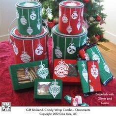 Gift Boxes, Bags, Tags, Candy Bar Wrappers, Gallon and Quart Paint Can Labels - Elegant Christmas Ornaments and Tree Designs. Gina Jane Designs - DAISIE Company