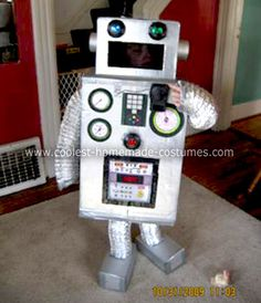 Homemade Robot Boy Costume: When my son told me he wanted to be a robot for Halloween, I knew only a homemade costume would do. It was so much fun to make and most of the supplies