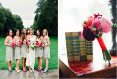 bridesmaid wearing diff color bright shoes! this is what I want!
