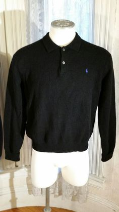 Men's Black 100% Lambswool Sweater by Polo Ralph Lauren Italy Hong Kong XL #RalphLaurenPolo #Polo