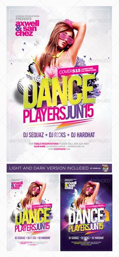 Dance Players Flyer Template — Photoshop PSD #purple #top • Available here → https://graphicriver.net/item/dance-players-flyer-template/4659682?ref=pxcr