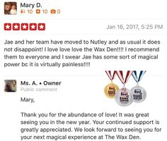 We love our loyal clients. The transition has been a blessing.  Thank you all for your continued support. Three time #bestofessex #winner. No gimmicks needed just waxing for #brazilianwax #manzilian #nutley #picoftheday #nutleywaxing #brows #thewaxden #loyalty