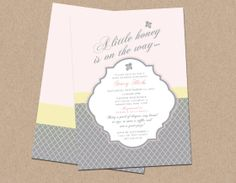 """""""A Little Honey Is On Her Way"""" themed baby shower invitation"""