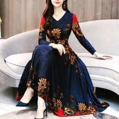 Blue V Neck Floral Dress Elegant Ladies Midi Vestido Long Sleeves Big Swing Plus Size Autumn Dresses High Quality Vintage Casual Cheap Maxi Dresses, Stylish Dresses, Elegant Dresses, Casual Dresses, Fashion Dresses, Sexy Dresses, Formal Dresses, Wedding Dresses, Backless Dresses