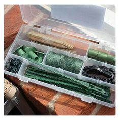 Tie and Twine Set - The Tie and Twine Set contains all the gardener with flowering or vegetable plants which require regular tying-in needs, all safely housed in a clip-top, hinged and sectioned plastic box. http://www.harrodhorticultural.com/tie-and-twine-set-pid8321.html
