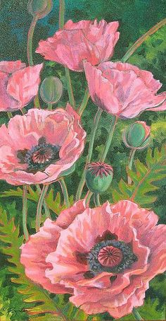 """x 36 """" Acrylic on canvas the summer is finally here poppies waving their papery heads all over the garden. these are my favorite salmon color Art Floral, Painting & Drawing, Watercolor Paintings, Color Pencil Art, Botanical Prints, Watercolor Flowers, Flower Art, Poppies, Art Drawings"""