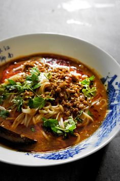 Sichuan cuisine is famous for the liberal application of chili pepper and Sichaun peppercorn to every food that comes into sight.Dan Dan Noodles are no. Asian Noodle Recipes, Asian Recipes, Healthy Recipes, Szechuan Recipes, Healthy Rice, Thai Recipes, Soup Recipes, Cooking Recipes, Asian Soup