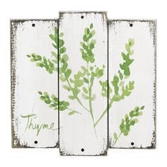 Add a sprig of botanical charm with the Thyme Herb Wall Decor. Wooden planks, washed with a natural screen of herbs, this plaque is perfect for the nature lover. Wall Plaques, Wall Signs, Thyme Herb, Sage Herb, Herb Wall, Wall Decor Online, Cool Wall Art, Wooden Wall Decor, Distressed Painting
