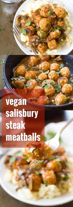 These vegan Salisbury steak meatballs are made from a savory base of chickpeas, . These vegan Salisbury steak meatballs are made from a savory base of chickpeas, served over mashed potatoes and smothered in mushroom gravy. Vegan Dinner Recipes, Veggie Recipes, Whole Food Recipes, Vegetarian Recipes, Cooking Recipes, Healthy Recipes, Game Recipes, Steak Recipes, Vegan Vegetarian