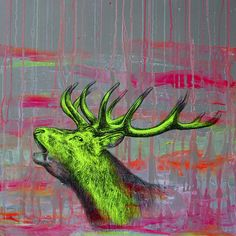 Fluorescent Mixed Media Animals by Louise McNaught