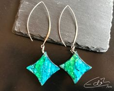 Polymerclay Green and Blue Statement Jewelry, Etsy Seller, Trending Outfits, Unique Jewelry, Handmade Gifts, Green, Blue, Vintage, Blue Earrings
