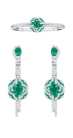 For the Tuilleries gardens in the Escale  Paris Collection by Vuitton, 2 pieces in an Art Deco vein, a pair of earrings and a ring, both in white gold set with emeralds and chrysoprase.