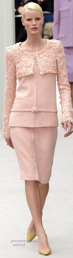 Chanel ~ Couture Spring Pink Embellished Skirt Suit 2004