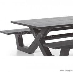 Gescova Azur Bonucci Table de jardin pique nique Rectangulaire Entièrement en aluminium Anthracite-antracite 220