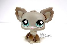 Littlest Pet Shop #836 Grey Chihuahua Dog blue cross eyes Rare LPS