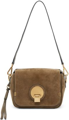 Structured suede shoulder bag in 'merino' khaki. Twin detachable buffed leather…