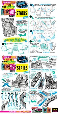 Stairs drawing tutorial 23 new ideas Drawing Lessons, Drawing Techniques, Drawing Tips, Painting & Drawing, Matte Painting, Digital Painting Tutorials, Digital Art Tutorial, Art Tutorials, Drawing Reference Poses