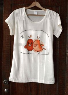 "Hand painted T-shirt "" Birds in love "". Painted by hand tee with cute birds. Valentine's gift."
